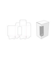 Packaging box with side window die cut template vector