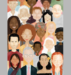 People faces social diversity and racism concept vector