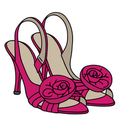 Pink slippers on high heel vector