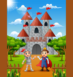 Prince and knight standing in front of the castle vector