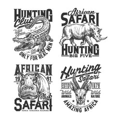 Safari hunting club t shirt prints animals trophy vector
