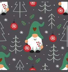 seamless pattern with christmas gnome vector image