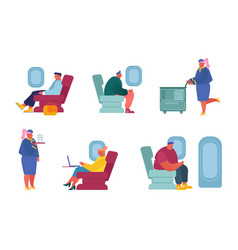 set airplane crew and passenger characters vector image