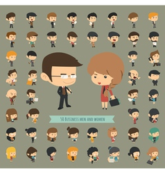 Set of 50 business men and women vector image