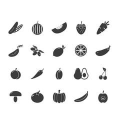 set of monochrome vegetable icons tomato vector image