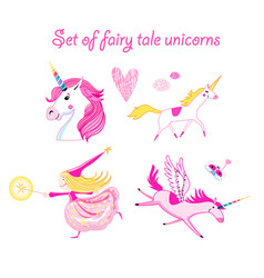 set unicorns vector image