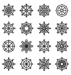 ship wheel icons set outline style vector image