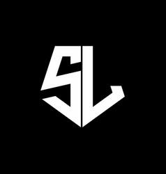 sl logo monogram with pentagon shape style design vector image