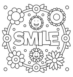 Smile coloring page vector