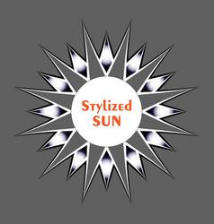 stylized black-white sun on grey background vector image
