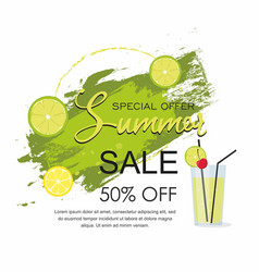 summer sale grunge brush green paint texture vector image