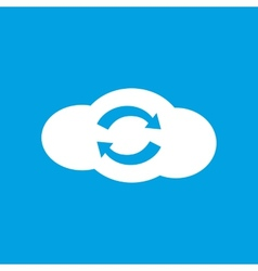 Synchronization cloud white icon vector
