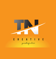 Tn t n letter modern logo design with yellow vector