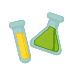 Transparent flasks with chemical substances vector