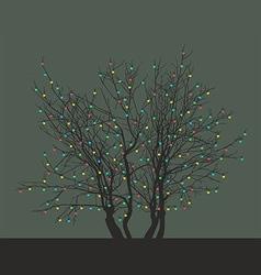 Tree with Christmas light bulbs vector