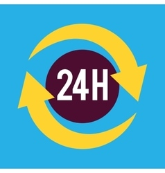 Twenty four hours service icon vector