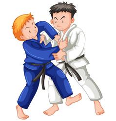 Two boys fighting judo wrestling on sport vector