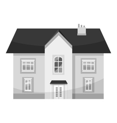 Two storey house icon gray monochrome style vector