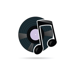 vinyl record with note icon vector image