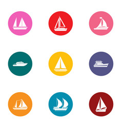 Watercraft icons set flat style vector