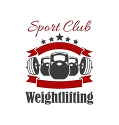 Weightlifting sport club sign vector image