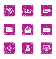 wifi deal icons set grunge style vector image