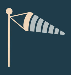 wind speed flag line icon on color background in vector image