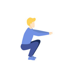 Young man doing squat exercise side view portrait vector