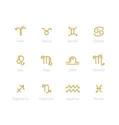 zodiac signs - set twelve astrological symbols vector image