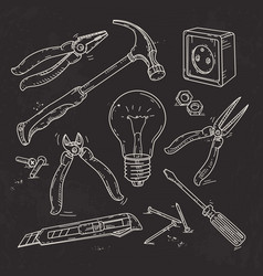 and sketch icons set of carpentry tools lamp vector image vector image