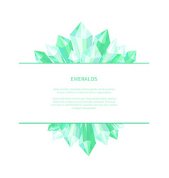 emeralds natural resources poster precious stones vector image vector image
