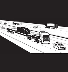heavy duty truck with pilot cars on highway vector image vector image