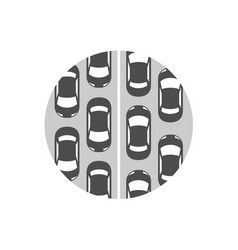 traffic jam icon cars in a rows symbol vector image
