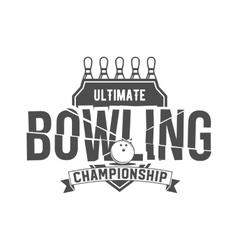 bowling emblem label badge and designed elements vector image vector image