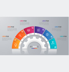 circle chart template for infographics 6 vector image