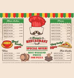 italian restaurant menu a cafe vector image