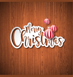 merry christmas hand lettering with vector image