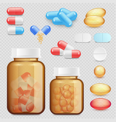 realistic drugs and pills icon set vector image vector image