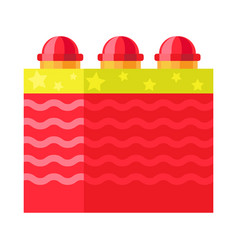 Red box with ground bloom flower firework element vector