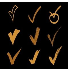 set of hand drawn check on black background vector image vector image