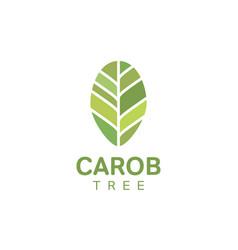 carob tree leaf logo template vector image