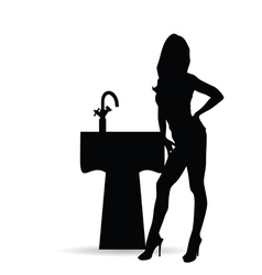 girl silhouette with sink vector image