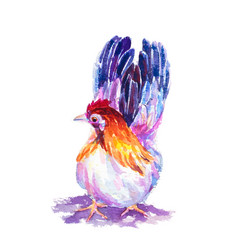 hand painted watercolor of bantam on white vector image