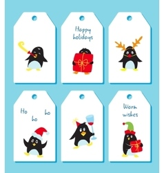 Set of winter holiday tags with cute penguins vector image vector image