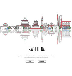 travel china poster in linear style vector image vector image