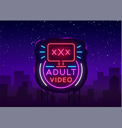 Adult video neon sign design template neon logo vector