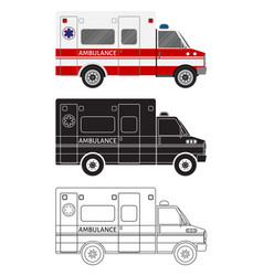 ambulance car in three different styles color vector image vector image