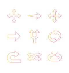 Arrows gradient style icon set design vector