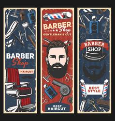 Barbershop chair razors poles and man with beard vector