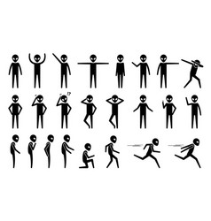 Basic alien ufo body poses and postures stick vector